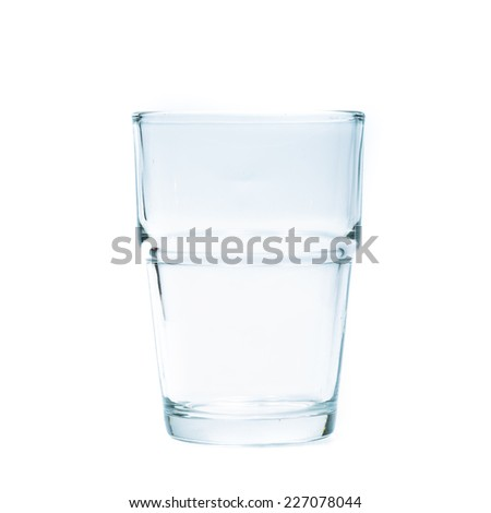Empty glass on white background.