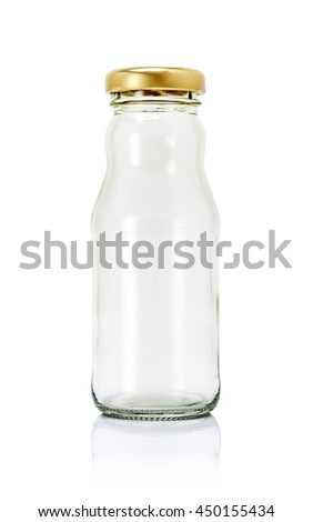 Empty glass packaging bottle for milk product isolated on white background with clipping path - stock photo