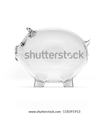 Empty glass piggy bank. Side view