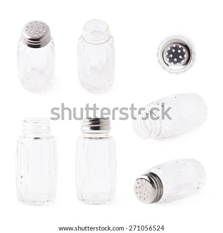 Empty glass salt bottle isolated over the white background, set of multiple different foreshortenings - stock photo