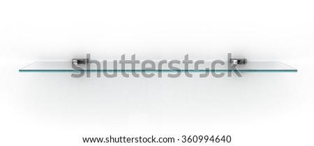empty glass shelf isolated on white - stock photo