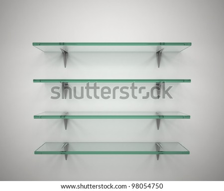 empty glass shelves - stock photo