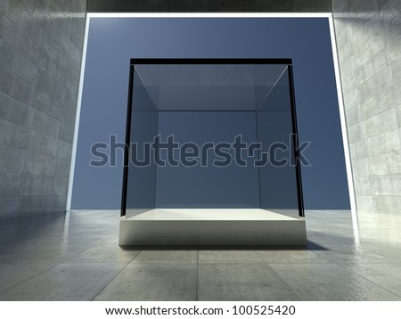 Empty glass showcase, 3d exhibition space - stock photo