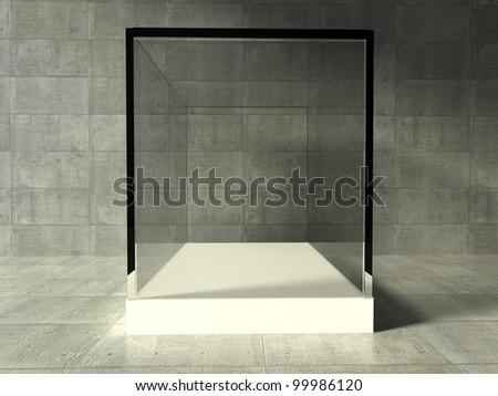 Empty glass showcase, 3d exhibition space - stock photo