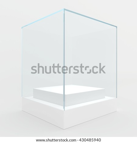 Empty glass showcase for exhibit. gray background