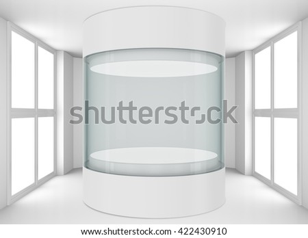 Empty glass showcase for exhibit in clean white room with windows. 3D illustration