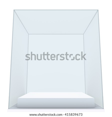 Empty glass showcase for exhibit. White background. 3D rendering