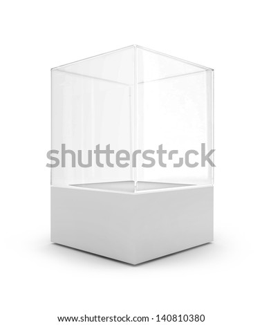 Empty glass showcase for exhibition - stock photo