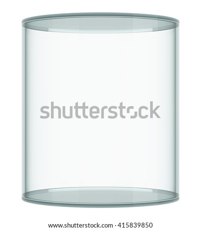Empty glass showcase on white background. 3D rendering - stock photo