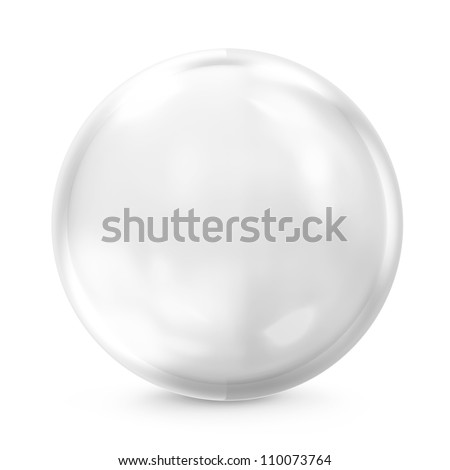Empty Glass Sphere isolated on white background - stock photo
