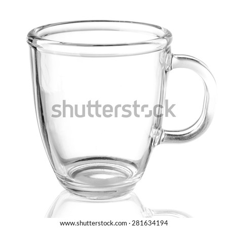 Empty glass tea cup. Isolated on white background - stock photo