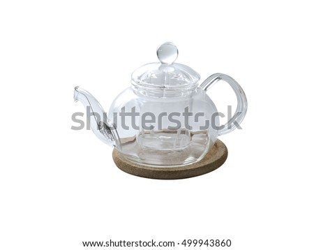 Empty glass teapot isolated on white background. Kitchen acsessorises.