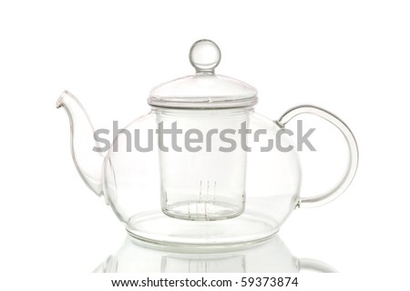 Empty glass teapot on white background