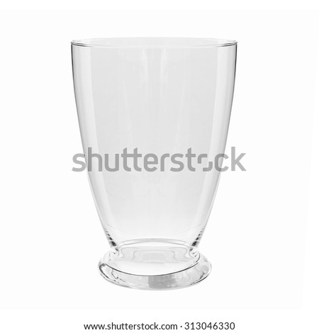Empty glass vase, isolated on white background  - stock photo