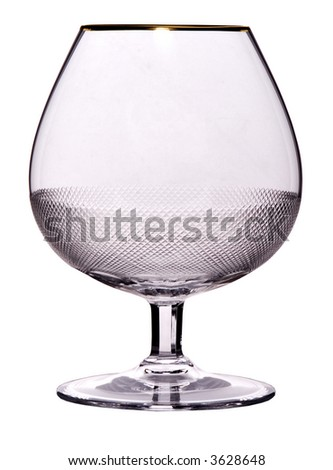 empty glass with golden ornament