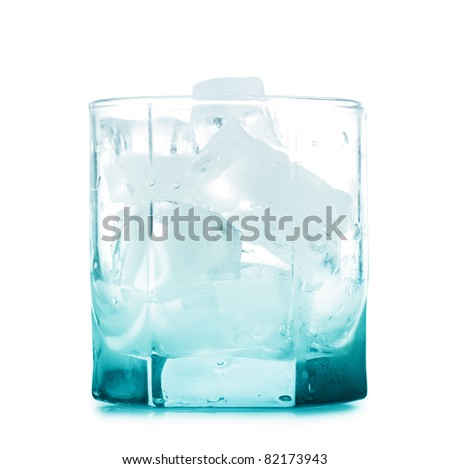 Empty glass with ice cubes isolated over white background