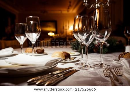 Empty Glasses In Restaurant. Table Setting For Celebration