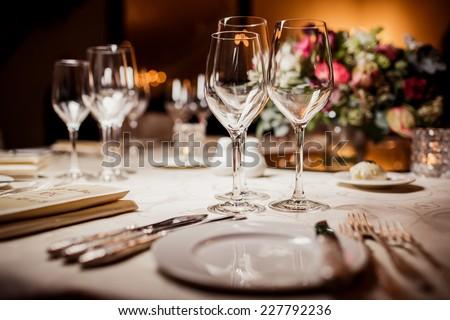 Empty glasses in restaurant. Table setting for celebration & Empty Glasses Restaurant Table Setting Celebration Stock Photo ...