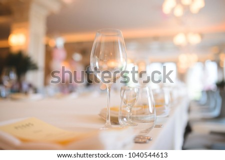 empty glasses on table at restaurant
