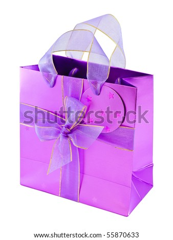 Empty glossy pink gift bag decorated with violet ribbons and a bow, isolated on white