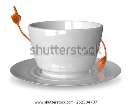 Empty glossy white cup character in moment of insight isolated on white