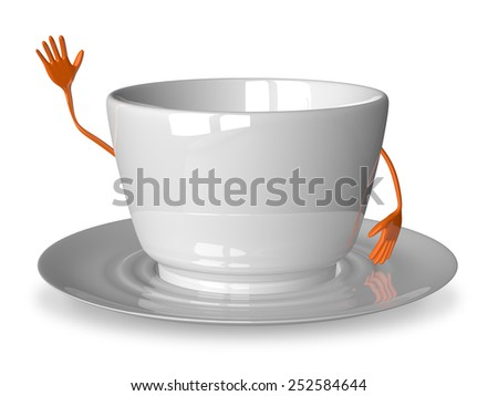 Empty glossy white cup character waving hand isolated on white - stock photo