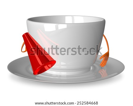 Empty glossy white cup character with megaphone isolated on white - stock photo