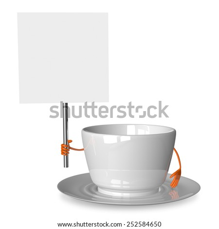 Empty glossy white cup character with placard isolated on white - stock photo