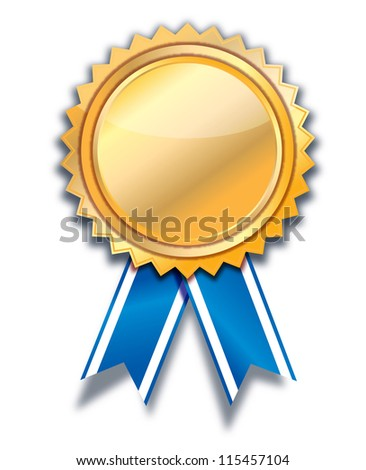 empty  golden label with blue ribbon. - stock photo