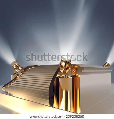 Empty golden stage podium for award ceremony. High resolution. - stock photo