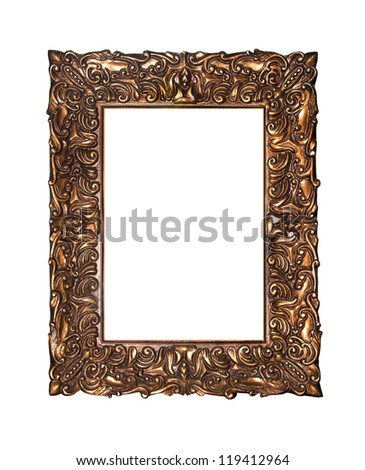 Empty golden vintage frame isolated on white background - stock photo