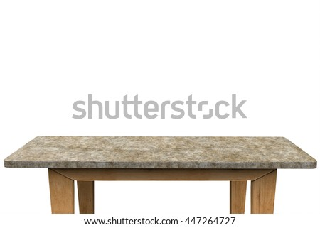 empty granite table on white background