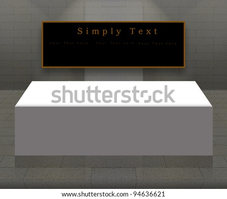 Empty gray interior with spot light  and emty table with black board - stock photo