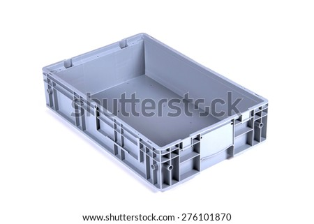 Empty gray plastic box crate, isolated on white. - stock photo