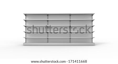 Empty gray retail shelves on a plain background - stock photo