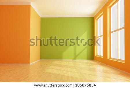 empty green and orange modern interior - stock photo
