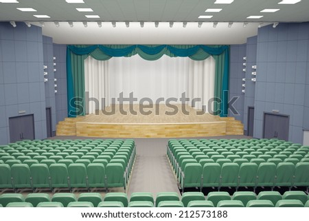 empty green armchairs in modern theater Hall.3d concept - stock photo