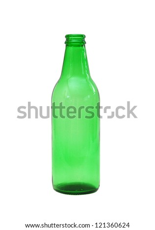 Empty green beer bottle isolated on the white background
