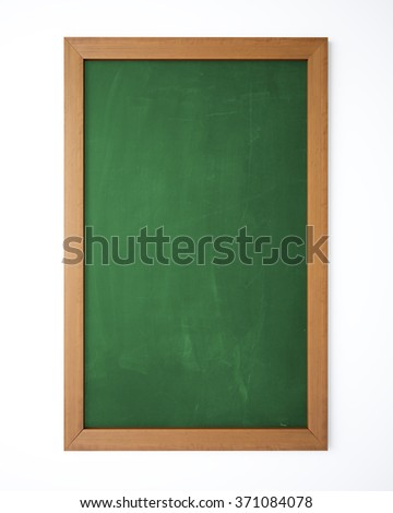Empty green blackboard on white wall to draw a business plan, a restaurant menu or educational purposes. - stock photo