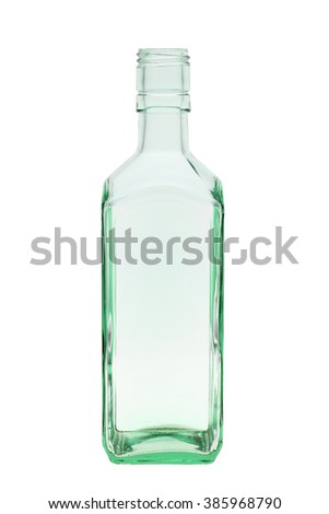 empty green glass bottle isolated on white background - stock photo