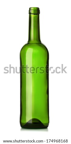 Empty green glass wine bottle isolated on white - stock photo