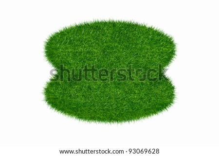 Empty green grass round blank isolated 3d model