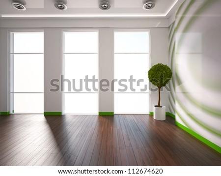 empty green interior - stock photo