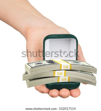 Empty green ring box with cash in womans hand on isolated white background