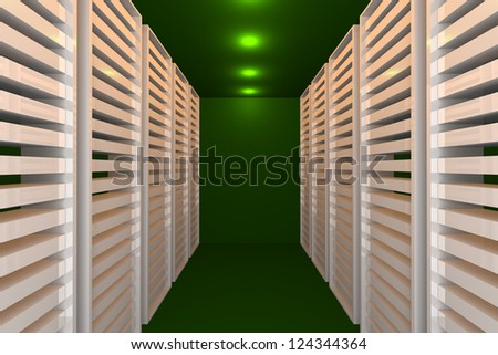 Empty green room for modern interior of server room in datacenter - stock photo