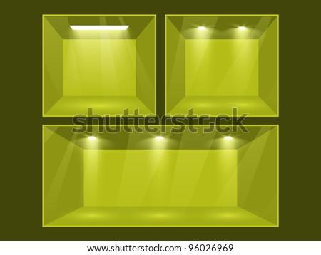 Empty green room set illuminated by searchlights. - stock photo
