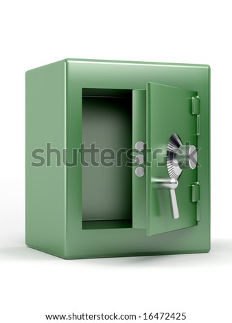 empty green safe on white background