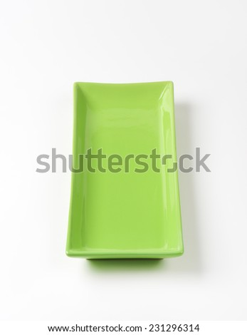 empty green tray on white background