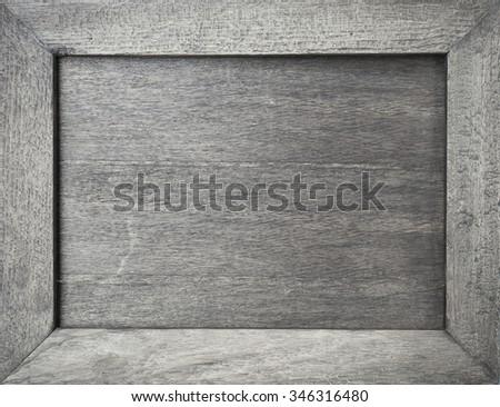 Empty grey wooden frame  - stock photo