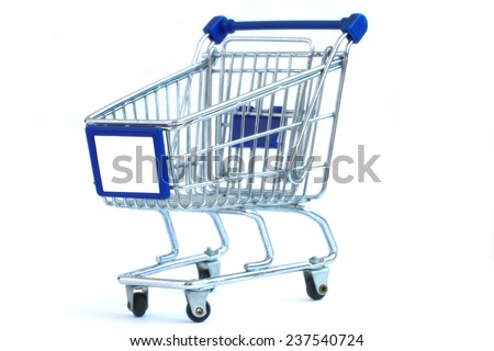 Empty grocery cart isolated on white